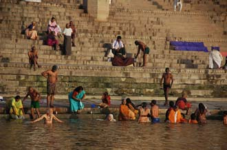 Bath In The Holy Ganges River At Sunrise Raja Ghat Detail